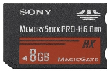 Sony MSHX8B Memory Stick PRO-HX Duo 8 GB, 50MB / s (240Mbps)* Read / Write