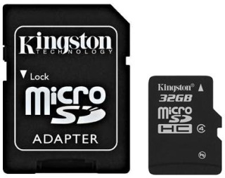 KINGSTON 32GB microSDHC Class 4 karta s adaptérem