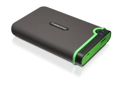 """TRANSCEND 500GB StoreJet 25M3, USB 3.0, 2.5"""" Externí Anti-Shock disk, šedo / zelený"""