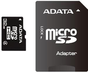 ADATA micro SDHC karta 32GB Class 4 + adaptér SDHC